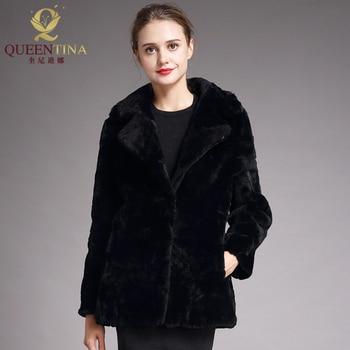 Real Sheep Fur Coat for Women Winter Warm Sheepskin Coat Long Sleeve Fashion Genuine Sheep Shearing Fur Jackets Femme Outwear