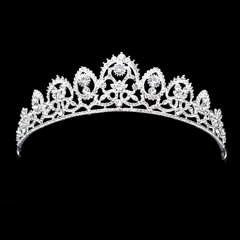 Prata luxo espumante casamento diamante pageant tiara baile de cristal coroas de noiva para o cabelo da noiva jóias acessórios femininos