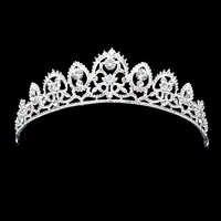 Argento di Lusso Scintillante Diamante Cerimonia Nuziale di Spettacolo Tiara Prom Corone di Cristallo Da Sposa Per La Sposa Monili Dei Capelli delle donne Accessori