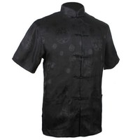 New Fashion Black Men S Satin Shirt Top Chinese Classic Kung Fu Clothing Short Sleeve Vintage