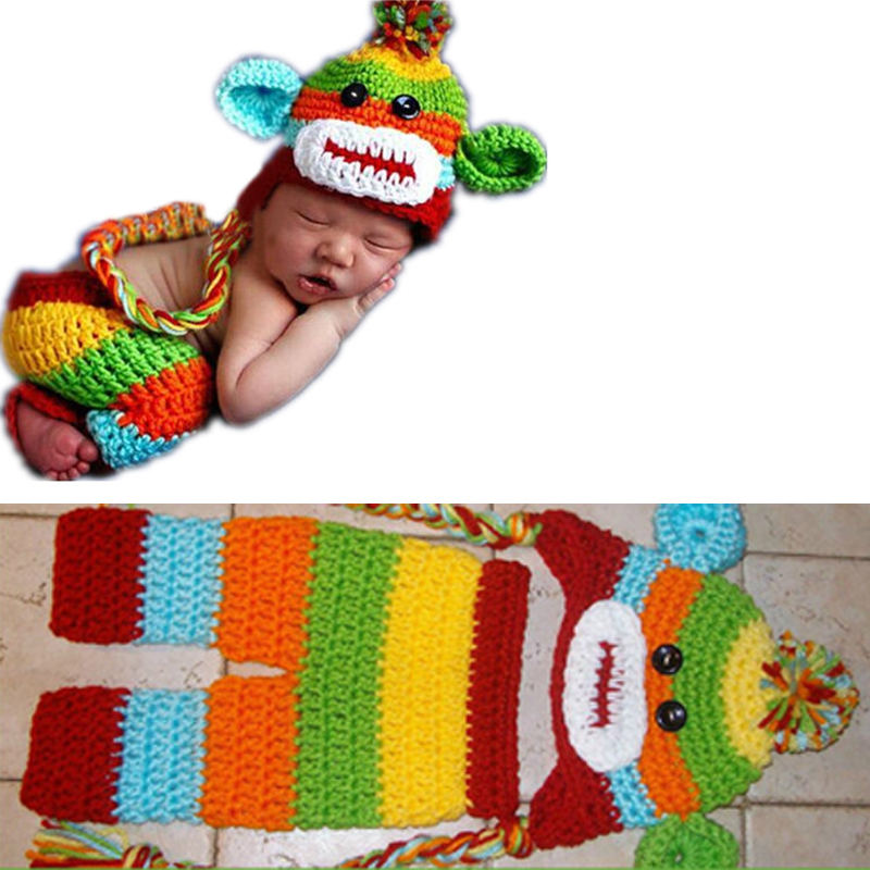 Baby Hat + Pant Set Newborn Baby Boy Colorful Crochet Knit Sock Monkey Cap With Ear Flaps Photography Prop for Boys Girls FJ88