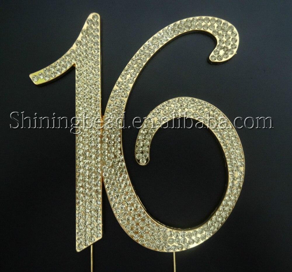 Ücretsiz nakliye, altın sayı 16 rhinestone kek topper, doğum - Tatiller ve Partiler Için - Fotoğraf 2
