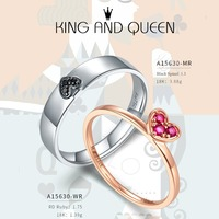 LP Customized King Queen Couple Wedding Band Ring 18K Gold Natural Spinel Diamond Anniversary promise Rings for Women Men Gift