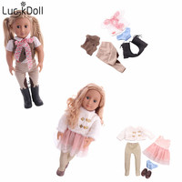 Luckdollss fashion new 18inch American doll + doll clothes accessories children's toys Christmas gifts for free
