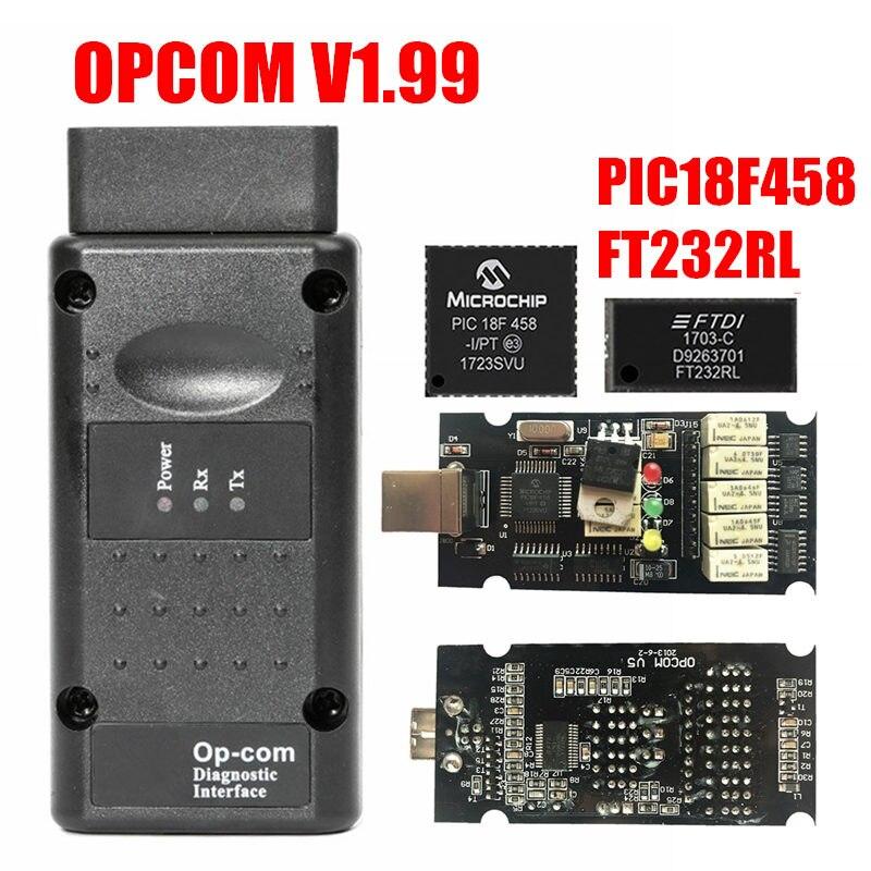 COMOP Firmware V1.99 V1.99/1.95/1.78/1.70/1.65/1.59 Para Opel OBD2 OP com/ ferramenta De Diagnóstico OPCOM Com PIC18F458 Chip