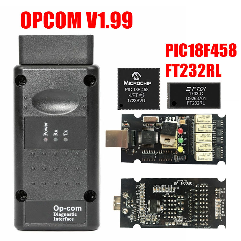 Firmware V1.99 OPCOM V1.99/1.95/1.78/1.70/1.65/1.59 For Opel OBD2 OP COM/OPCOM Diagnostic Tool With PIC18F458 Chip