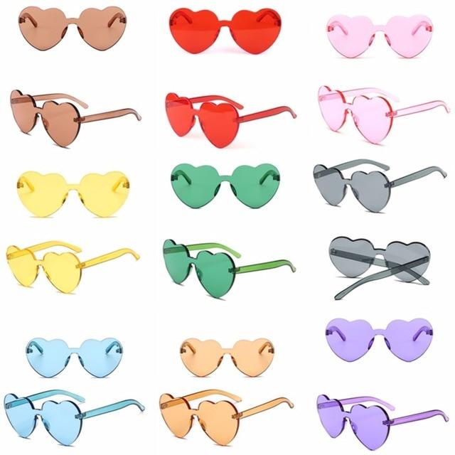 9 pcs Pacotes de Família Colorido Transparente Redondo Coração Super Retro  Óculos de Sol, 91a23f0b5a