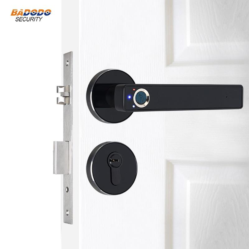 Intelligent semiconductor Fingerprint Lock Electronic biometric fingerprint Door Lock for indoor home use with mechanical key