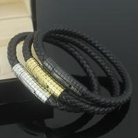 Black Genuine Leather Stainless Stainless Steel Magnetic Bracelets For Men Gifts