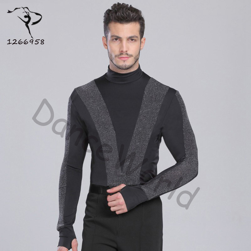 sexy New Arrival Men Dance Shirt Turtle Neck Long Sleeve Mens Latin Shirts Ballroom Dance Tops Clothing For Dance Wear DQ6027