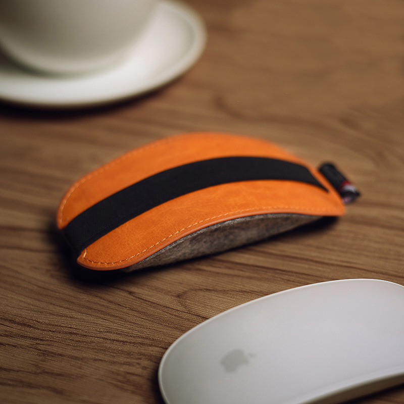 2018New! Orange PU Leather Mouse Pouch Case Mice Case Storage Bag For Apple Magic Mouse