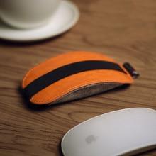Orange PU Leather Case Mice Storage Bag for Apple Magic