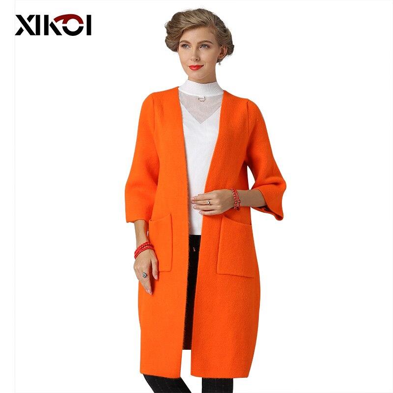 XIKOI 2018 Winter Women Long Cardigans Open Stitch Knitting Sweater Cardigans O-neck Oversized Cardigan Jacket Coat