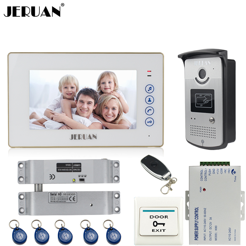 JERUAN 7`` TFT touch key video door phone intercom system kit 700TVL RFID Access IR Night Vision Camera Remote control In stock jeruan home 7 video door phone intercom system kit 1 white monitor metal 700tvl ir pinhole camera rfid access control in stock
