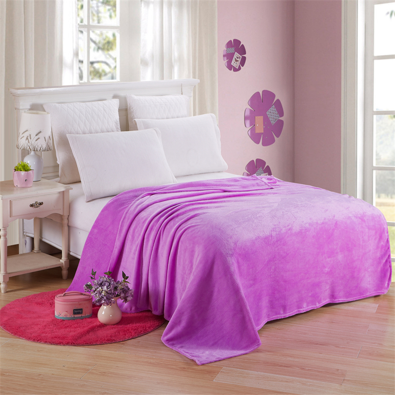 Flannel Coral Fleece Blanket Polyester Solid Violet Bedspread Sheet Kids Children Baby Twin Full Queen King Plaid on The Bed