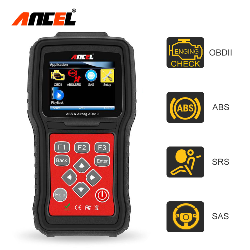 Ancel ad610 obd auto diagnostic scanner abs srs airbag crash data reset tool sas steering wheel angle obd2 automotive scanner