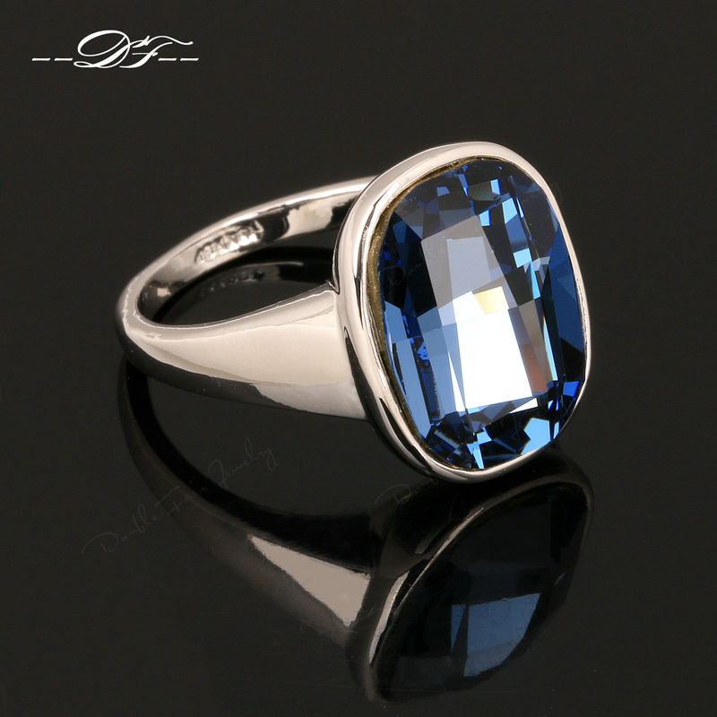 Hot Sale Big Blue Crystal Vintage Finger Rings Silver Color Crystal Brand Jewelry For Women Wholesale DFR123