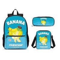 3Pcs/Set Portfolio School Bags For Boys Girls Cute Funny Cartoon Banana 3D Printing Backpacks Plecak Bookbag Mochila Escolar