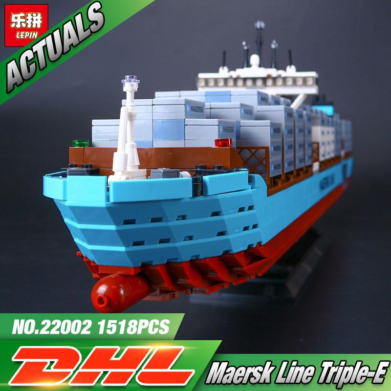 Lepin 22002 1518 Pz Serie Technic Il Maersk Cargo Nave Container Set Educational Building Blocks Mattoni Modello Giocattoli Regalo 10241