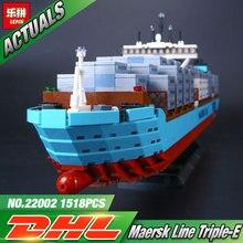 Lepin 22002 1518 Sztuk Technic Serii, Maersk Transport Kontenerowy Statek Zestaw Edukacyjne Klocki Klocki Klocki Prezent 10241