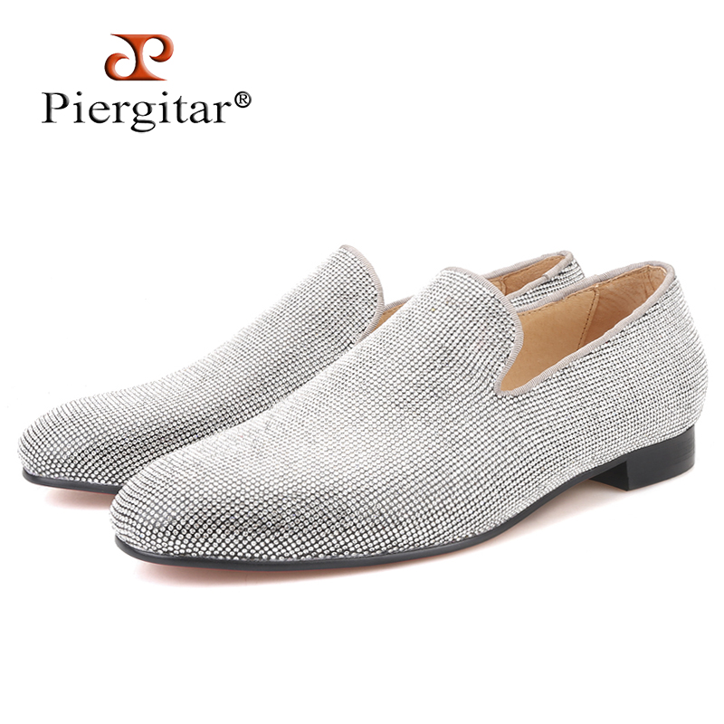 Piergitar brand 2019 Luxurious Handmade Sliver Diamond Men Shoes Wedding and Party Men Loafers red bottom