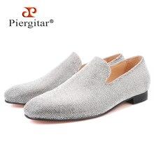 Piergitar العلامة التجارية 2019 الفاخرة اليدوية الشظية الماس حذاء رجالي الزفاف و حزب حذاء رجالي أحمر أسفل التدخين النعال