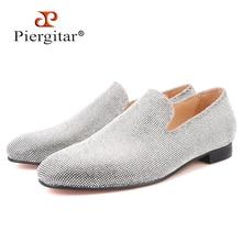 Piergitar brand 2019 Luxurious Handmade Sliver Diamond Men Shoes Wedding and Party Men Loafers red bottom Smoking Slippers