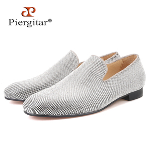 Image 1 - Piergitar brand 2019 Luxurious Handmade Sliver Diamond Men Shoes Wedding and Party Men Loafers red bottom Smoking Slippers