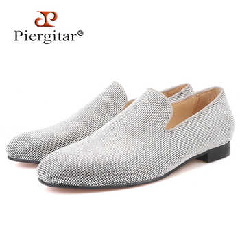 Piergitar brand 2019 Luxurious Handmade Sliver Diamond Men Shoes Wedding and Party Men Loafers red bottom Smoking Slippers - DISCOUNT ITEM  0% OFF All Category