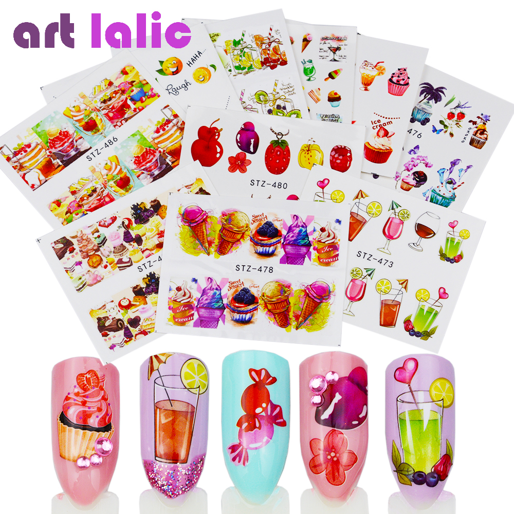 18 Sheets Nail Sticker Water Transfer Stickers Mixed Colorful Fruit Cake Candy Decals Wraps Tip Nail Art DIY Decoration Manicure f lashes 50pcs set starry sky star nail sticker art nail gel water transfer stickers decals tip decoration diy nails accessories