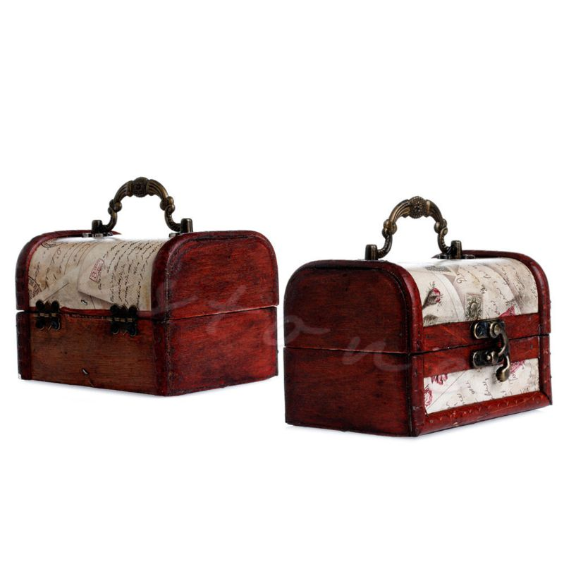 1Pc Luxury Vintage Stamp Small Metal Lock Jewelry Treasure Chest Case Wooden Box Y4QB in Jewelry Packaging Display from Jewelry Accessories