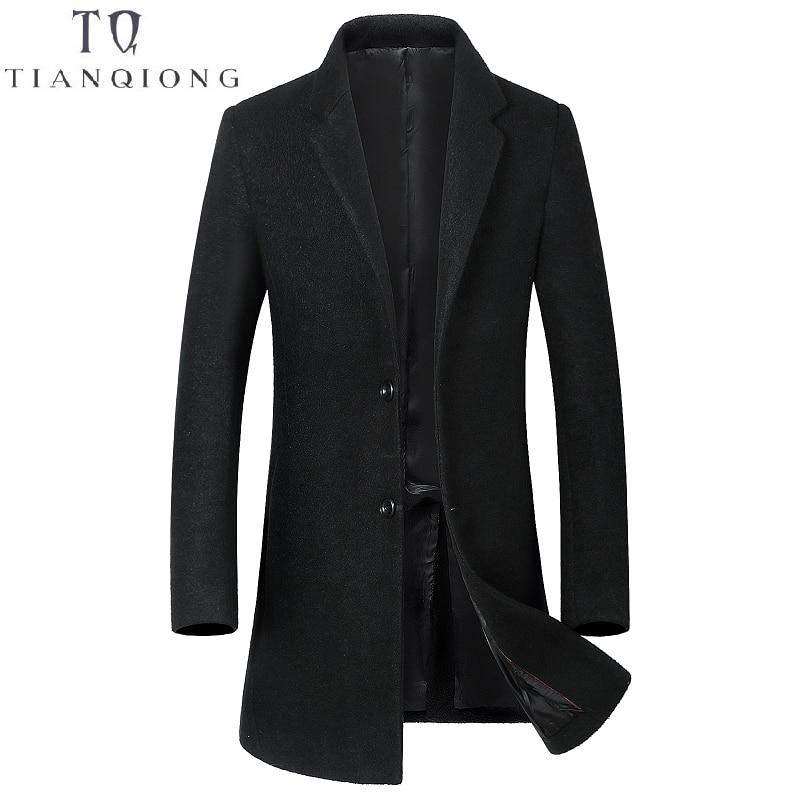 Luxury High Quality Long Men's Casual Wool Coat Dark Buckle 2018 Winter Thick Warm Business Gentleman Slim Wool Jacket