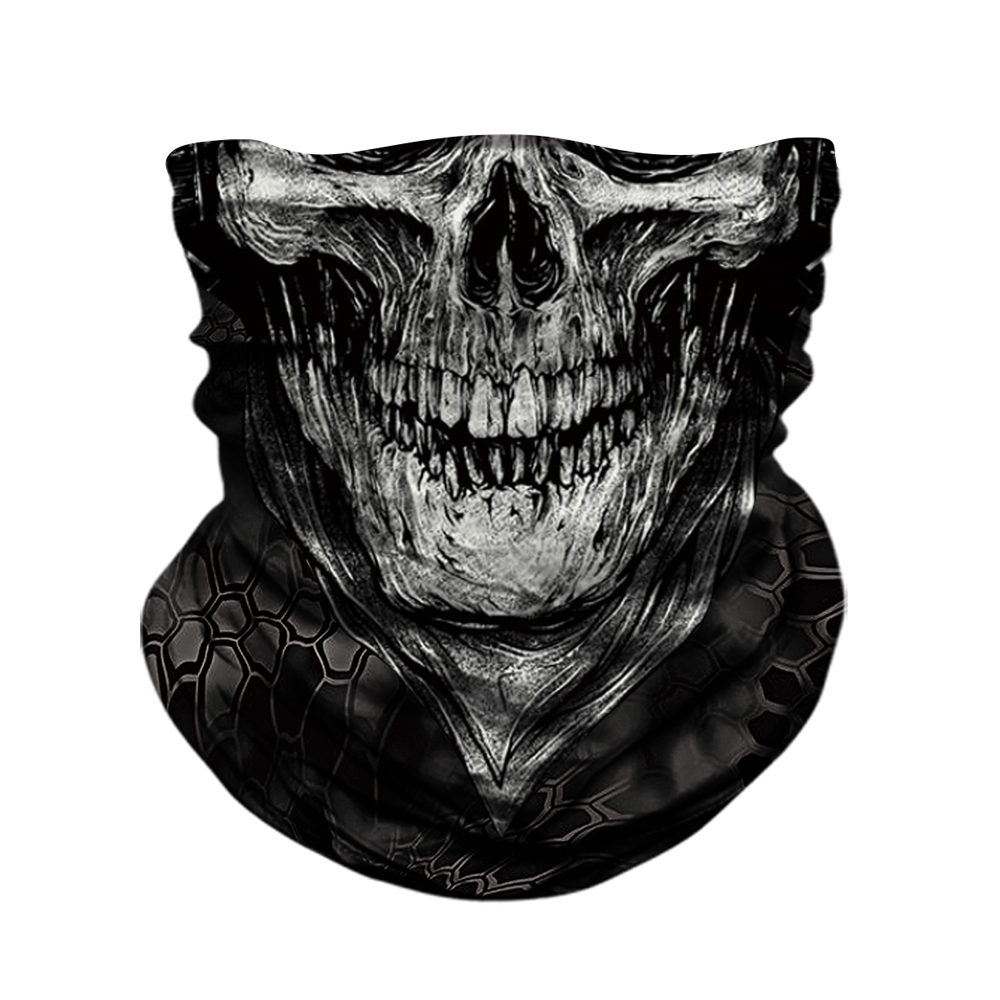 BJMOTO Skull Skeleton Balaclava Seamless Motorcycle Neck Face Shield Mask Scarf Bicycle Hunting Outdoor Bandana Headband