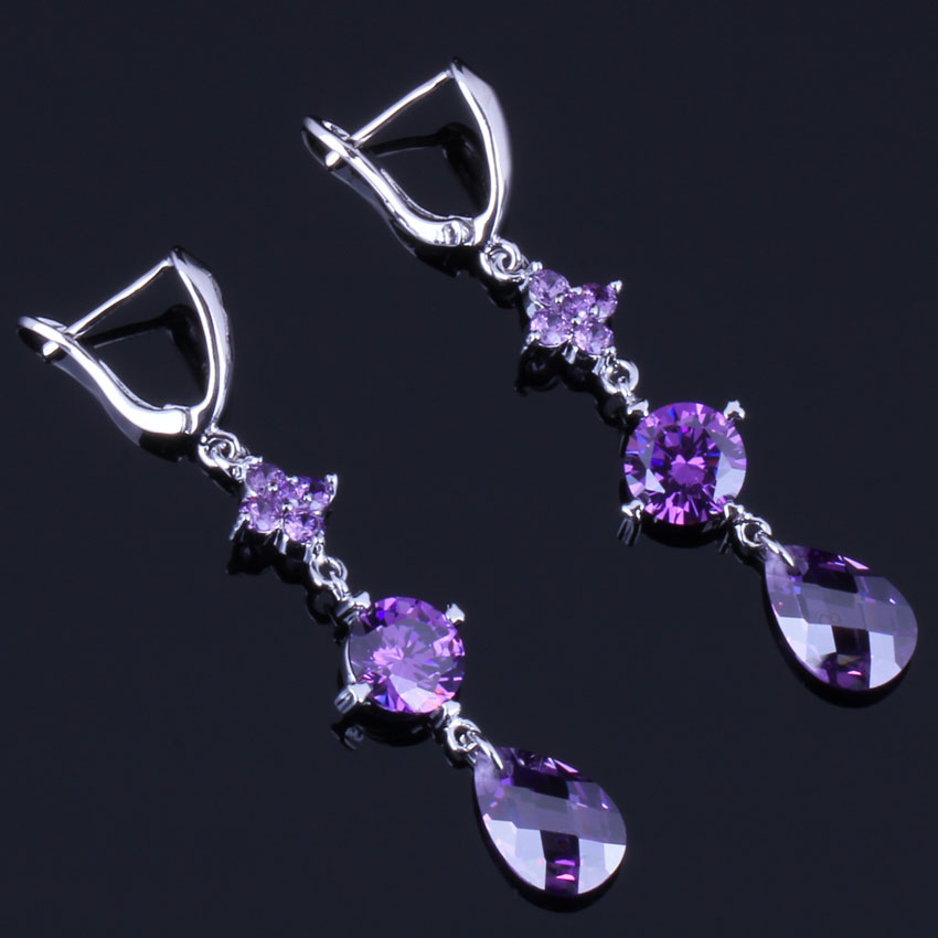 Prominent Water Drop Purple Cubic Zirconia 925 Sterling Silver Dangle Earrings For Women V0826