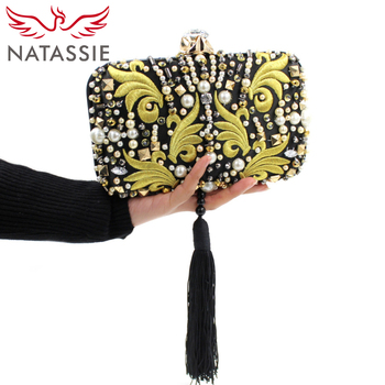 NATASSIE Women Evening Clutch Bag Ladies Tassel Clutches Purses High Quality Wedding Clutches