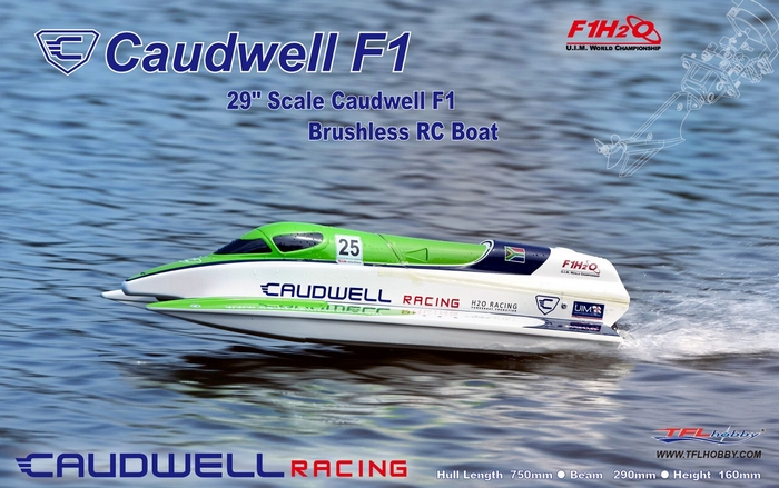 TFL 1138 Caudwell F1 29'' 750mm Electric RC Racing Boat With 2960 2881KV Brushless Motor 70A ESC h625 pnp spike fiber glass electric racing speed boat deep vee rc boat w 3350kv brushless motor 90a esc servo green