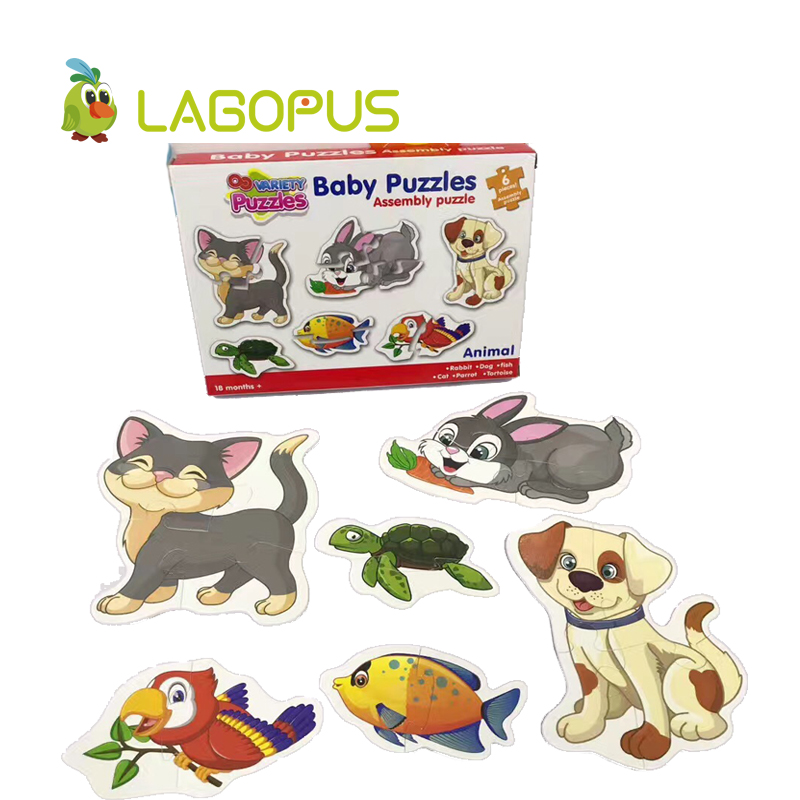 lagopus 4boxes/set puzzle game animal cartoon educational toys for children Intellectual Developmental waterproof puzzle