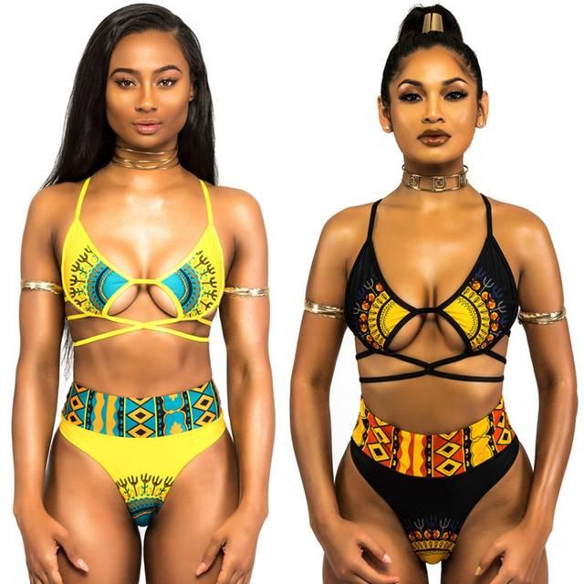 e3525557ca3f Sexy African Print Swimsuit 2018 Dashiki Print Swimwear Bandage 2 Piece Bikini  Set Female High Cut Monokini Push Up Bathing Suit-in Bikinis Set from  Sports ...