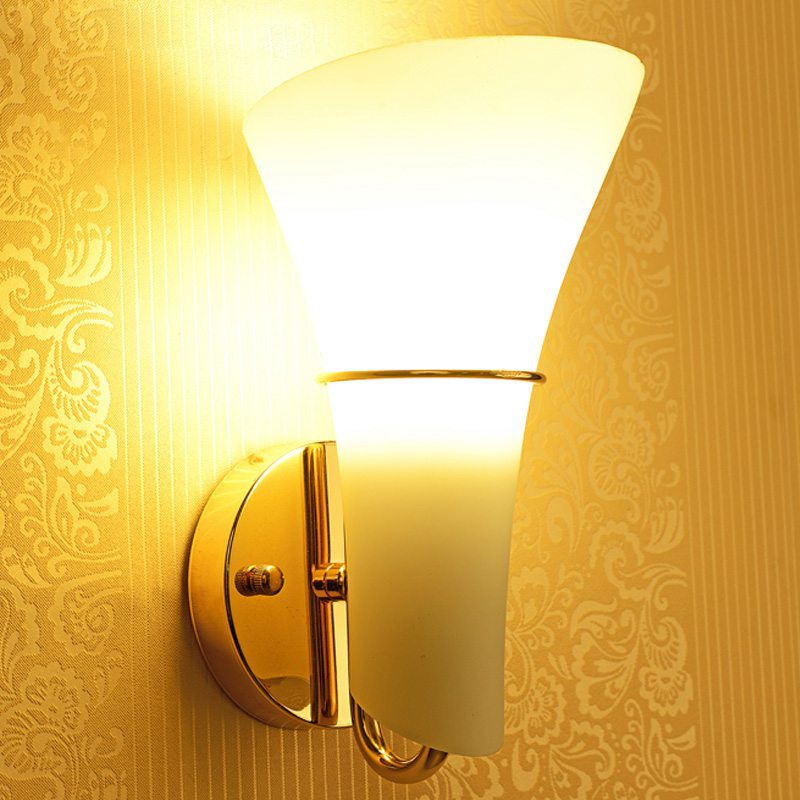 Modern Glass Calla Lily Bedroom Stair Case Wall Lights Frosted White ...