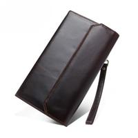 Men Business Wallets Sheepskin Genuine Leather Large Capacity Button Dollars Bit Credit Card Holder Wristlet Long Purse Hand Bag