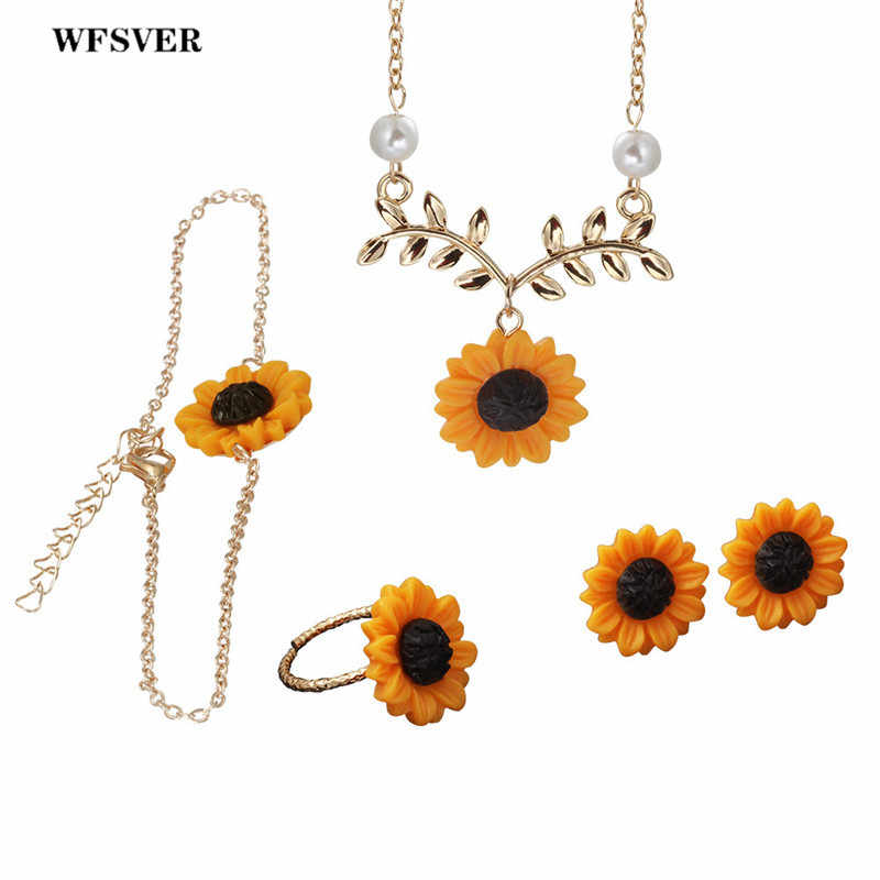 WFSVER jewelry set sunflower pendant necklace&stud earring&ring creative imitation pearls necklace for women fashion jewelry