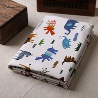 NEW 50 150cm Printed Cartoon Animal Fabric Sewing Upholstery Cotton Linen Blend Fabric By Meter DIY