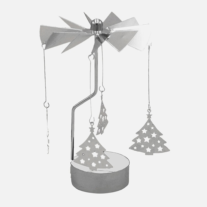 Xmas Rotating Spinning Carrousel Light Candle Holder Ornaments Heart//Snowflake