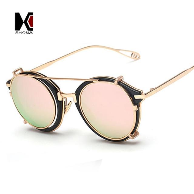 6223307b85 SHAUNA Women Steampunk Round Sunglasses Brand Designer Flip Separable Lens  Alloy Temple Vintage Men Glasses UV400