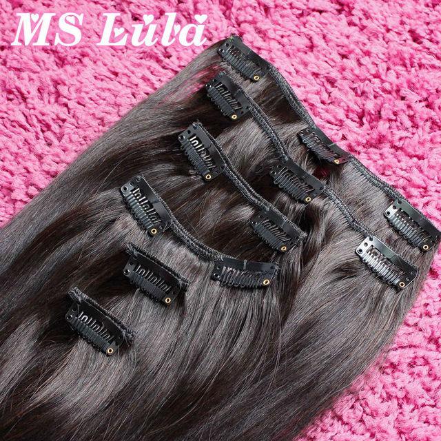 Ms Lula pelo de la nueva llegada 1 Unidades 7 unids/set brasileña del pelo recto clip en extensiones del pelo humano del color # 1b #2 #4 18 pulgadas