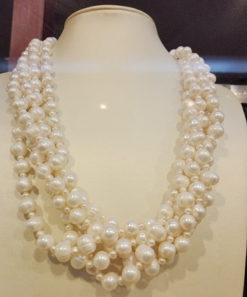 Wedding Woman AA 5 Strands 18'' 9-10mm 3-4mm Freshwater Pearl Necklace Real Natural White Pearl Handmade Free Shipping natural pearl necklace four strands pearl jewelry 18 inches 3 9mm white freshwater pearl necklace wedding party woman gift