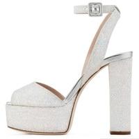 Elegant White Glitter Square Heel Sandals Women Summer Dress Shoes Ankle Buckle Strap High Platform Pumps Cut out Dress Shoes