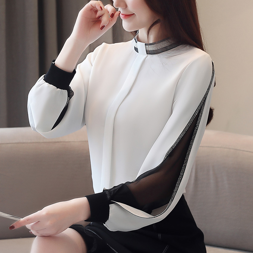 Women chiffon blouse New 2019 Fashion Casual Hollow out Chiffon shirt Elegant Slim Stand collar Women tops  blouse