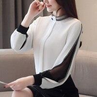 Women chiffon blouse New 2019 Fashion Casual Hollow out Chiffon shirt Elegant Slim Stand collar Women tops blouse