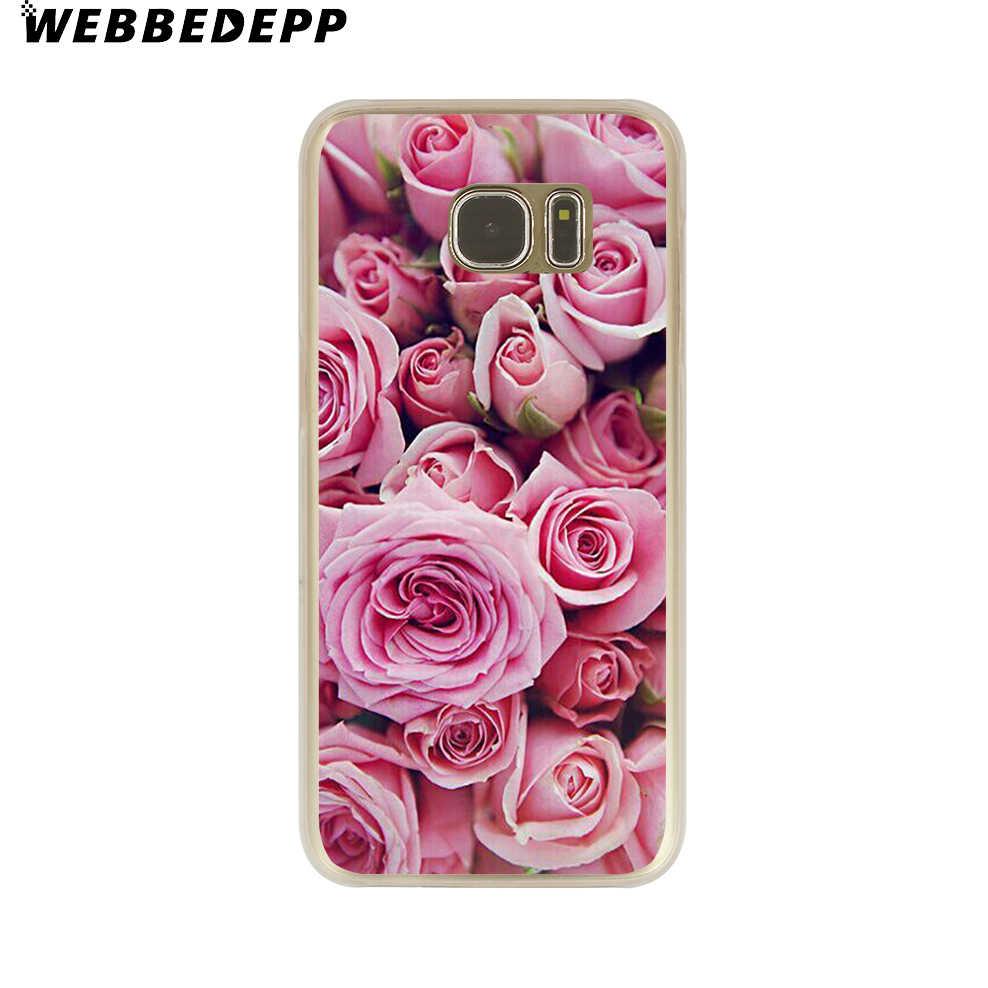 WEBBEDEPP peonía el girasol Rosa Daisy plantas flor duro teléfono transparente funda para Galaxy S6 S7 borde S9 S8 S10e Plus